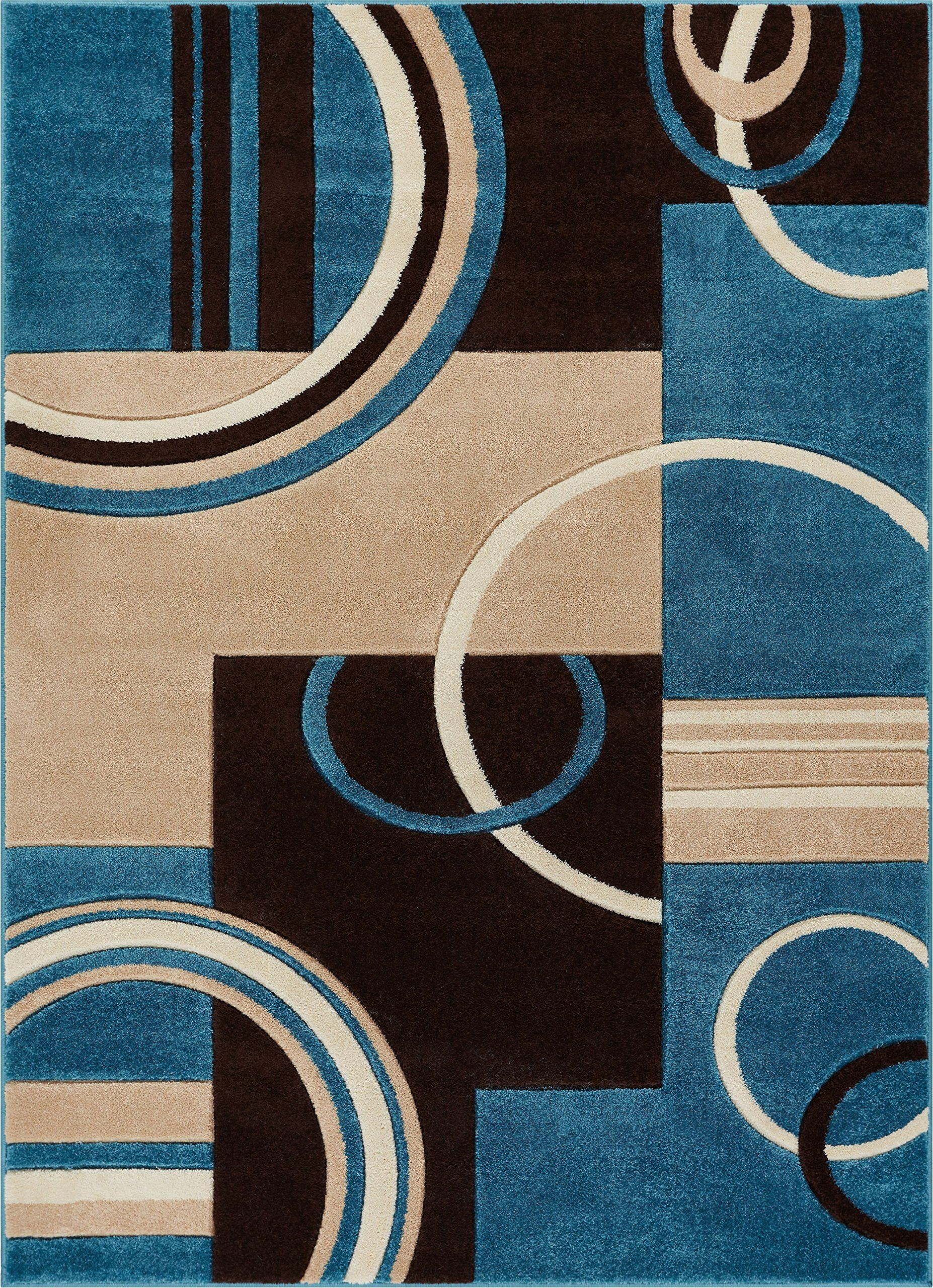 Echo Shapes And Circles Blue And Brown Modern Geometric Comfy Casual Hand Carved Area Rug 5x7 53 X 73 Easy C Blue Gray Area Rug Well Woven Geometric Area Rug