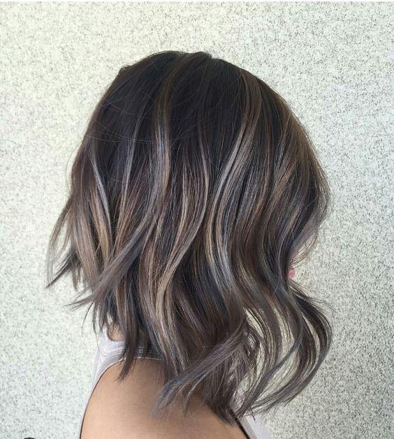 Ash Tone Highlights For Dark Hair Short Hair Highlights Hair Styles Hair Color