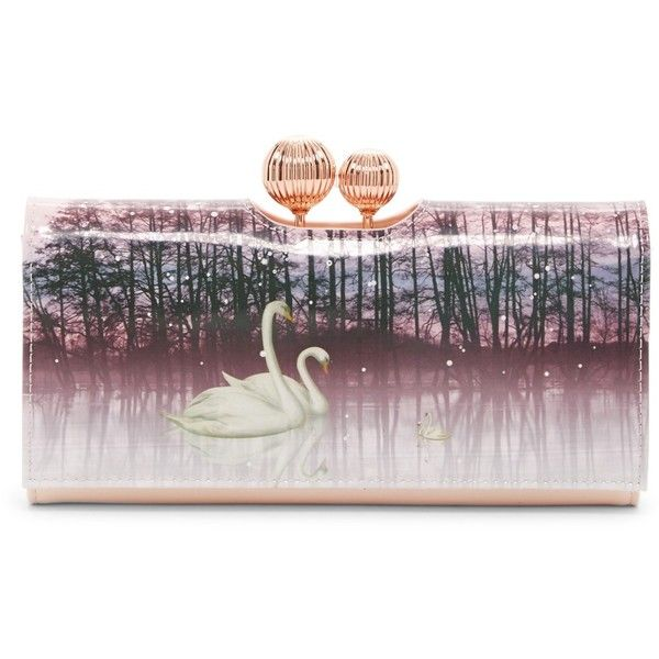 f31d9fa9c Ted Baker London Swanee Sparkling Swan Printed Leather Matinee Wallet  (5.005 RUB) ❤ liked on Polyvore featuring bags
