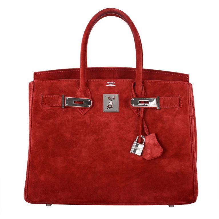 WOWZA HOT RED SUEDE! HERMES 30cm BIRKIN BAG ROUGE GARANCE SUEDE ... 5109d476bfee6