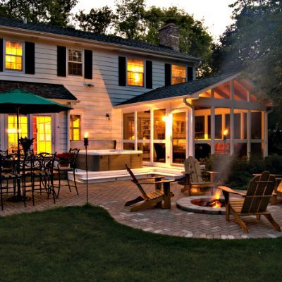 Custom Built Stone Patio With Fire Pit And 3 Season Screened Porch Design Ideas Archadeck