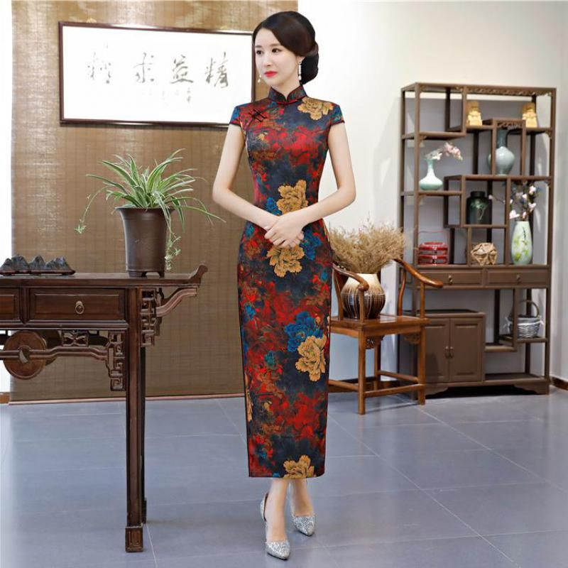 b0866e10e Hot-Sale-Women-Qipao-Casual-Mandarin-Collar-Floral-Slim-Chinese-Dress-Sexy -Classic-Cheongsam-Rayon-Oversize