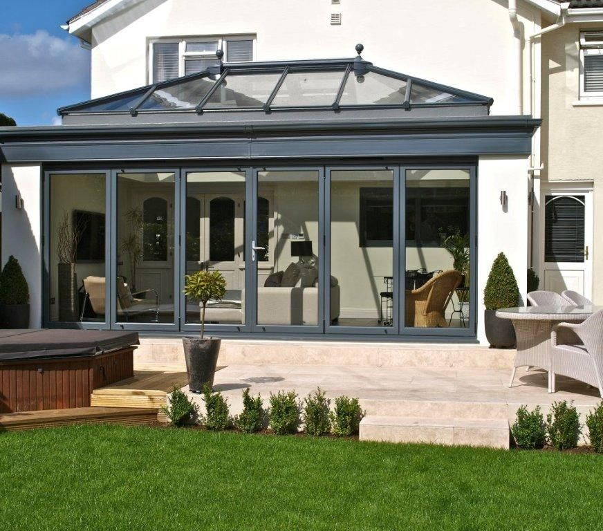 Aluminium bifold doors m a home improvements hinckley for Conservatory doors exterior
