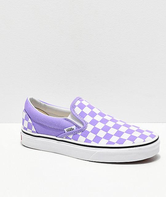 Vans SlipOn Checkerboard Violet \u0026 White