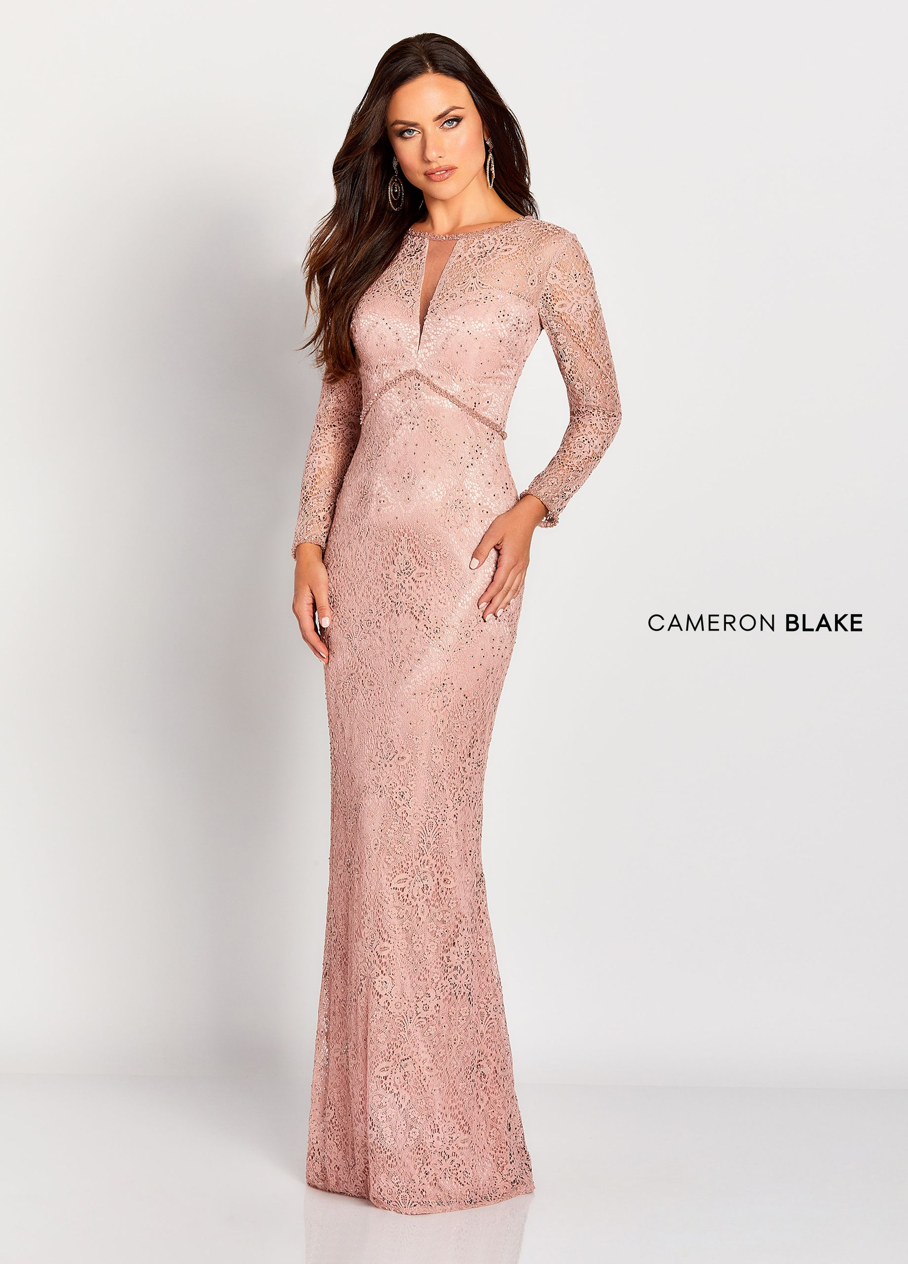 21eaa0d1fe Cameron Blake 119652 - Long sleeve allover lace sheath gown with illusion  sleeves