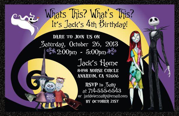 Nightmare Before Christmas Birthday Invitation Halloween Birthday Invitations Birthday Halloween Party Christmas Birthday Invitations