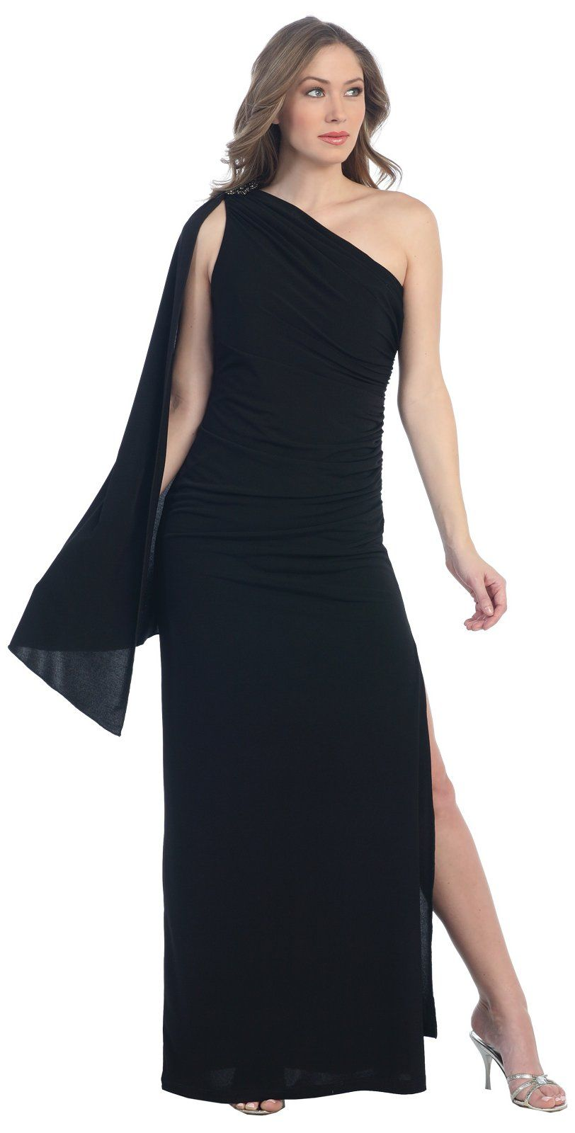 0ca356ba4503 Sexy One Shoulder Formal Long Black Dress Sash Tight Fitted Leg Slit  103.99