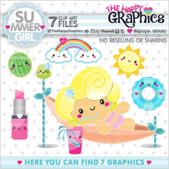 Summer Clipart, Summer Graphic, COMMERCIAL USE, Kawaii Clipart, Summer Party, Summer Girl, Planner Accessories, Girl Beach, Beach Party