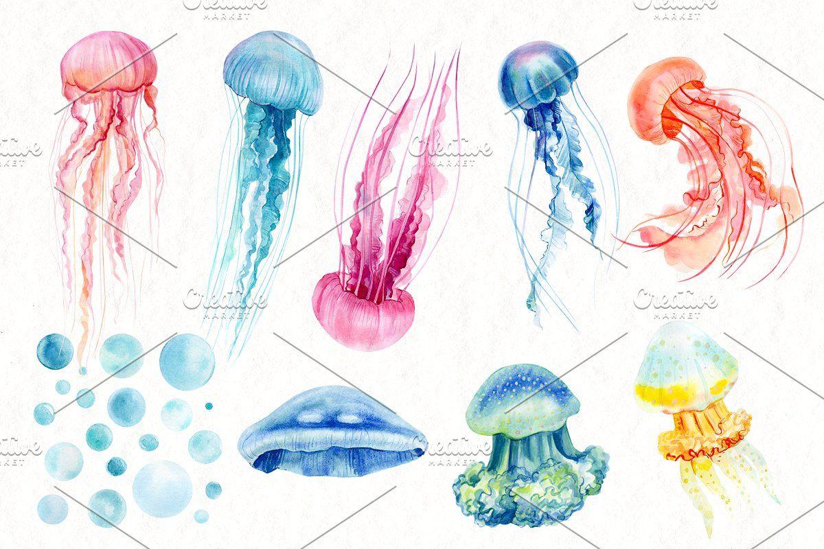 Watercolor Patterns Jellyfish Watercolor Pattern Jellyfish