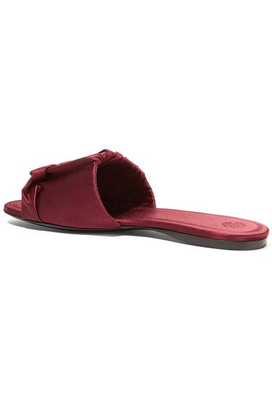 70c31297326a The Row - Ellen Ruched Satin Slides - Burgundy | Products | Satin ...
