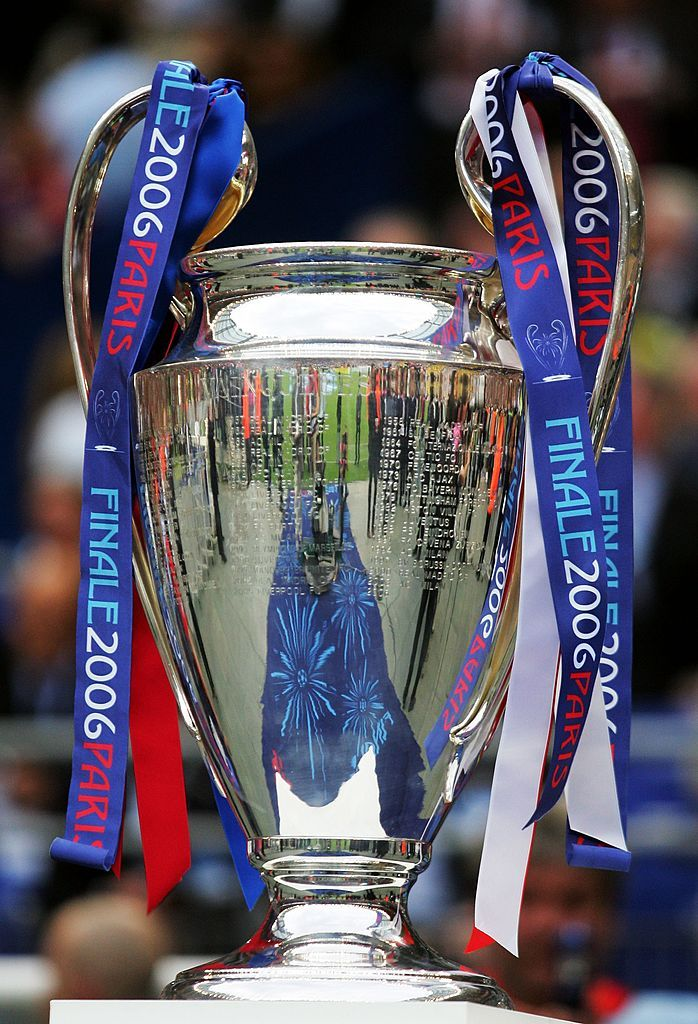 PARIS - MAY 17: The UEFA Champions League Trophy is placed ...