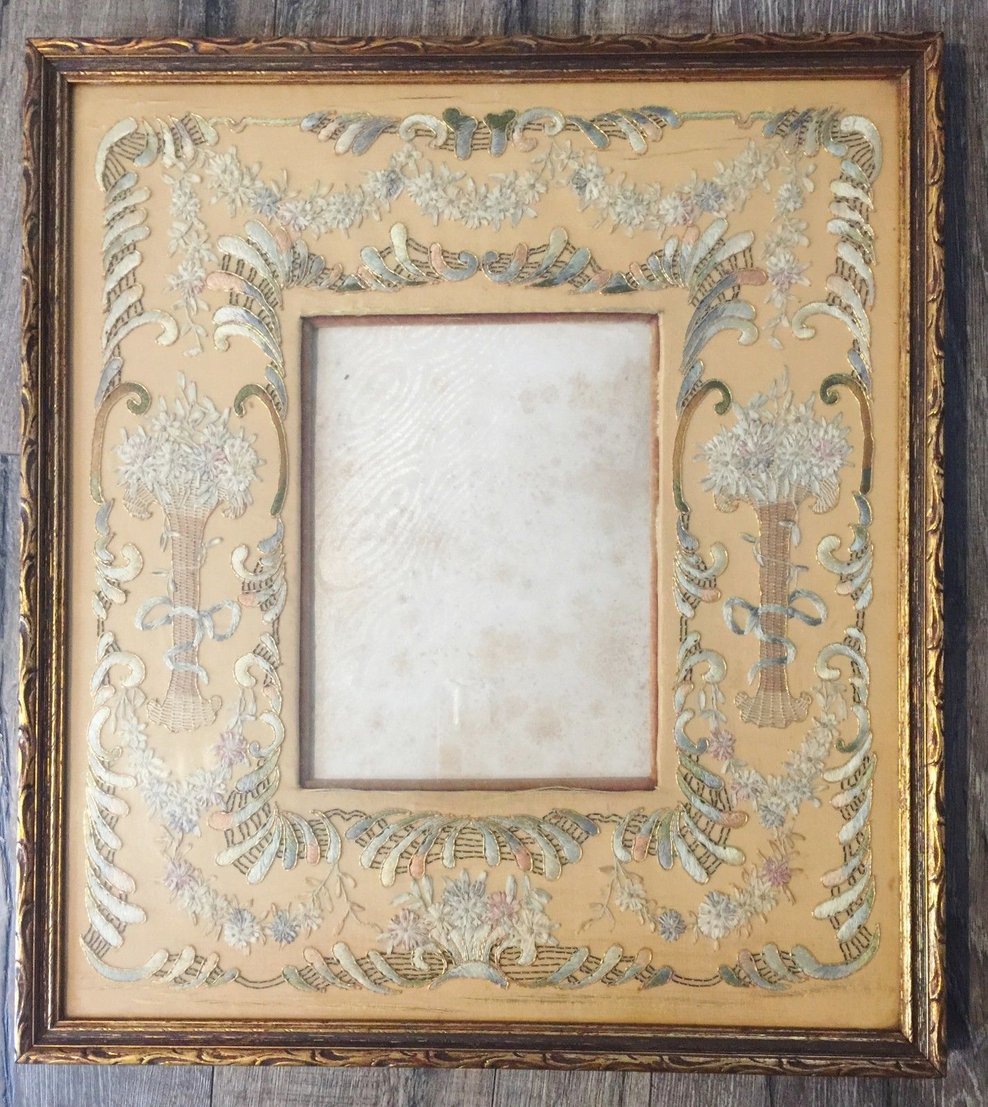 Antique late us french metallic embroidery on silkgold gilded