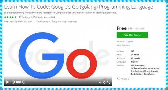 100% Free Udemy Course] Learn How To Code: Google's Go
