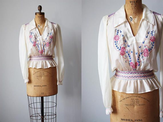 1940s Top 40s Vintage Embroidered Peasant Blouse Rare