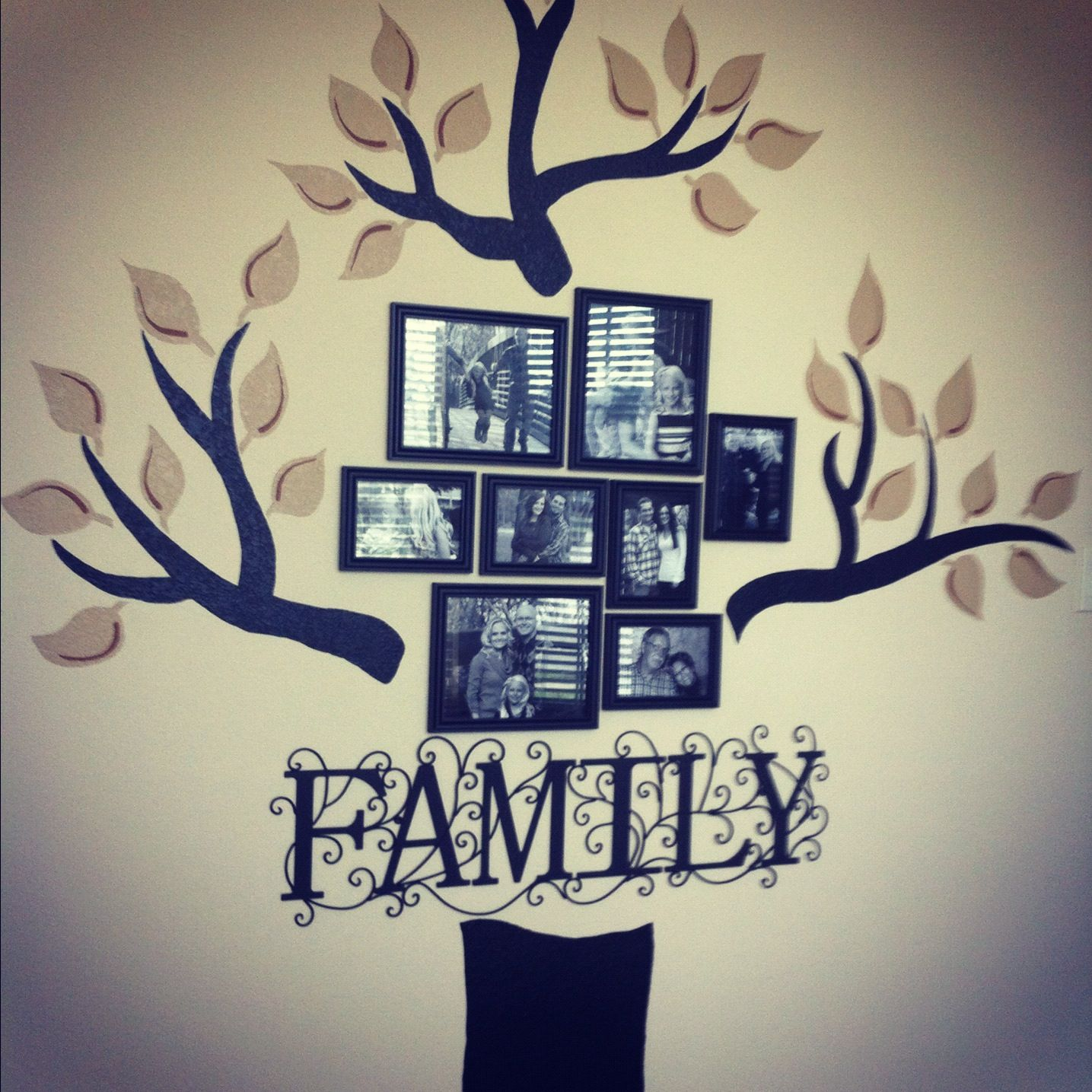 My hand painted family tree wall for our home office for Things to paint on your wall