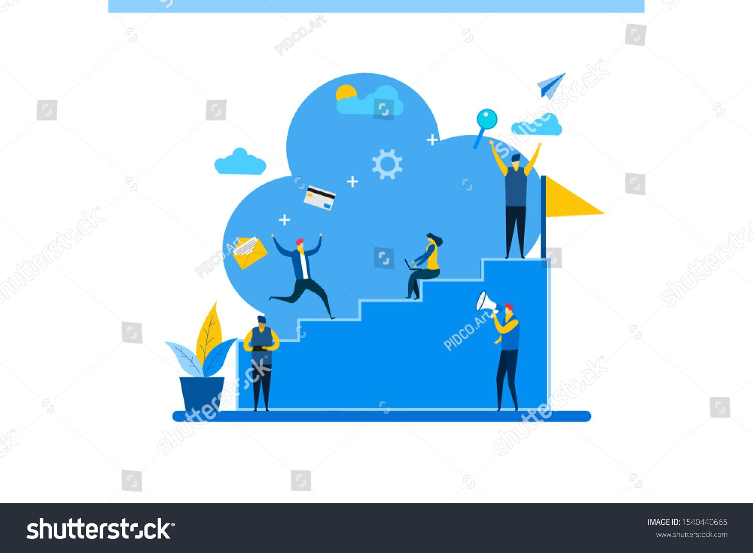 Business People Run To A Higher Level Flat Style Career Planning Career Development Concept Tiny People Char Career Planning Character Concept Character Poses