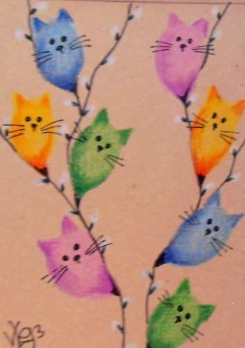 """Aceo Original """" COLORFUL PUSSY WILLOWS """" pencil/ink ON EBAY"""