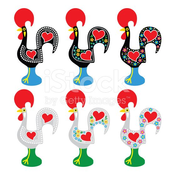 Vector Icons Set Of Traditional Decorated Rooster From Portugal Rooster Art Rooster Vector Pattern