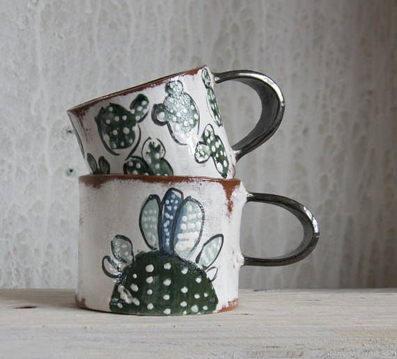 Cactus Gift-Ceramic Coffee Mug-Cactus Mug-Handmade Ceramics This cactus mug hand built by me from terracotta clay and painted with bright engobes. The finish is food safe transparent glaze. You need to know that each thing is handmade only, therefore really product may be slightly different #ceramiccafe