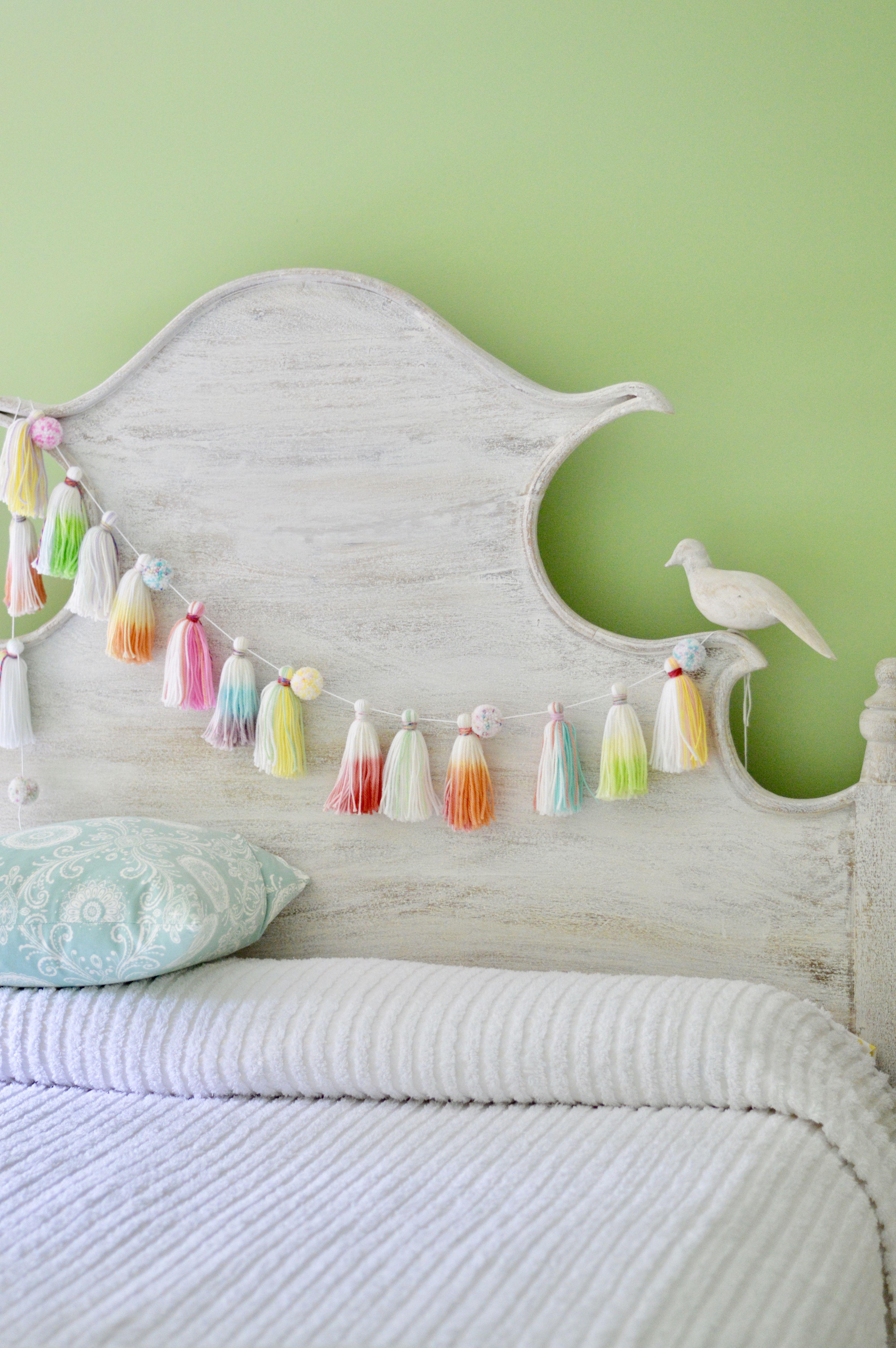 delightful Tassel Garland Nursery Part - 18: yarn tassel pompom garland - tassel garland - pompom garland - nursery  decor - rainbow tassels - baby shower decoration - nursery ideas - dip dye  tassels