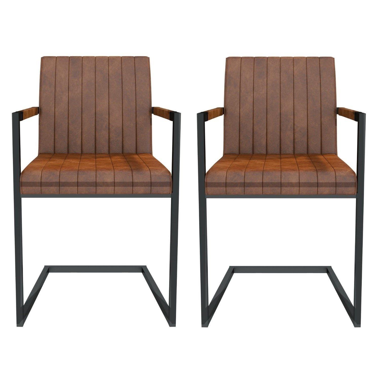 Issac Vintage Tan Pair Of Industrial Dining Chairs With Arm S Isc004 Industrial Dining Chairs Dining Chairs Grey Leather Dining Chair