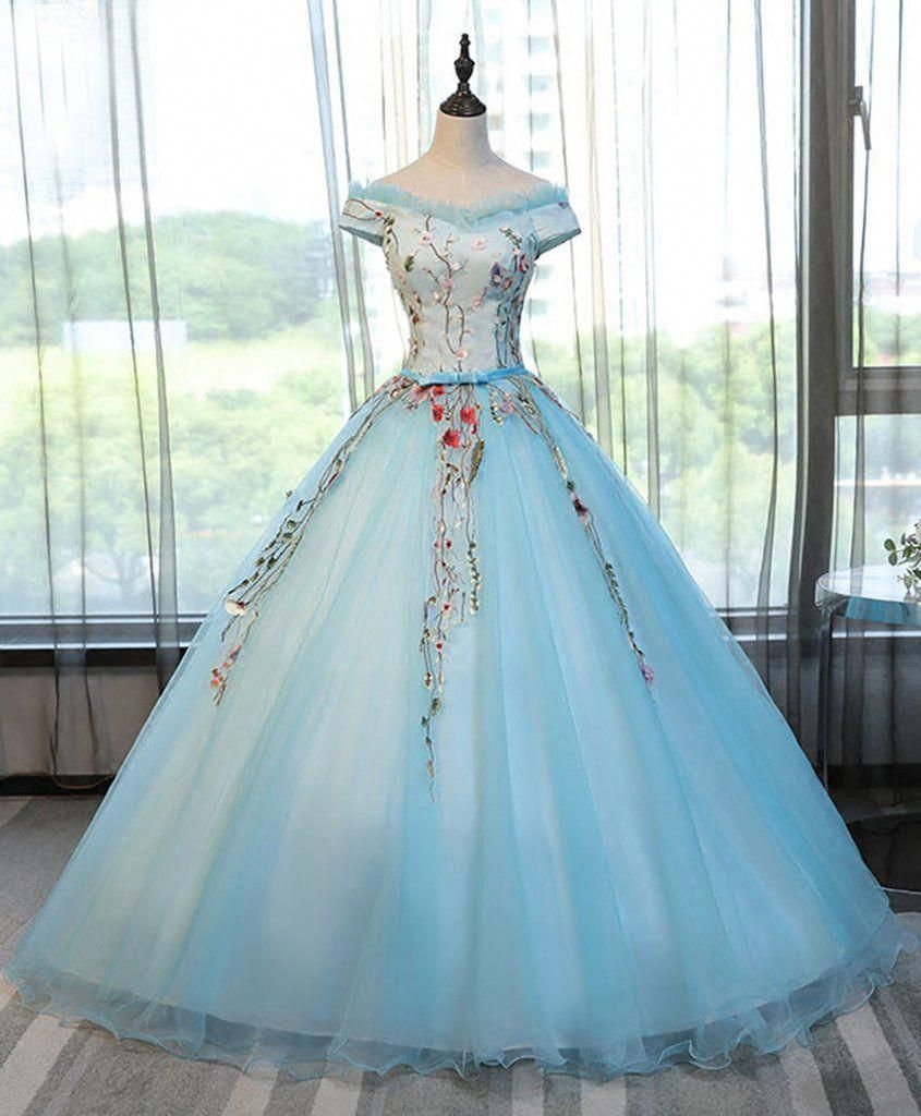 Off shulder prom dress blue tulle long poofy evening gown for prom