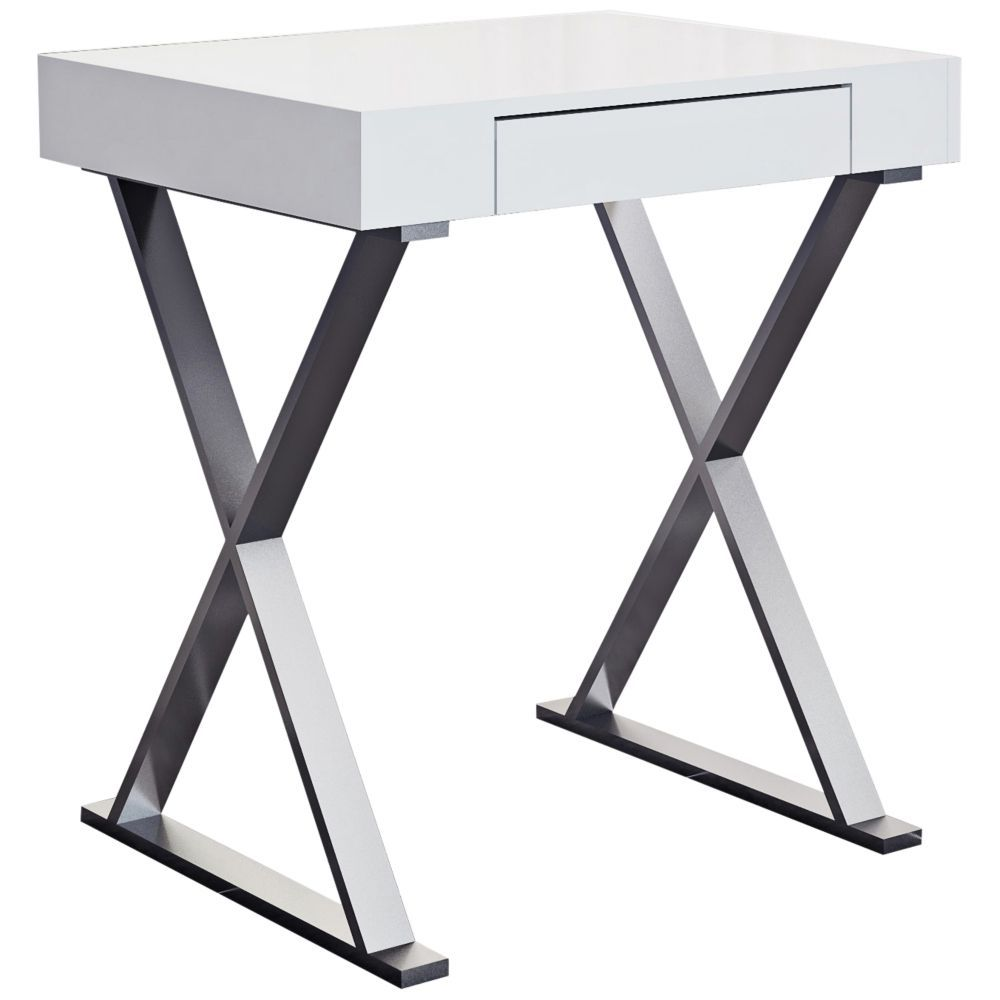 Elm high gloss white wood and stainless steel drawer desk style