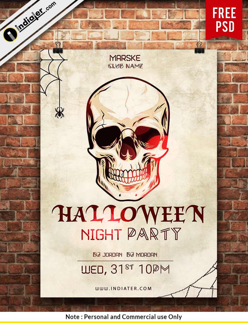 Free Scary Halloween Night Party Poster Design Halloween
