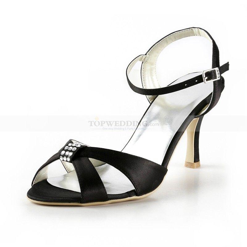 Rhinestone Black Satin High Heel Wedding Sandals | Black satin, High ...