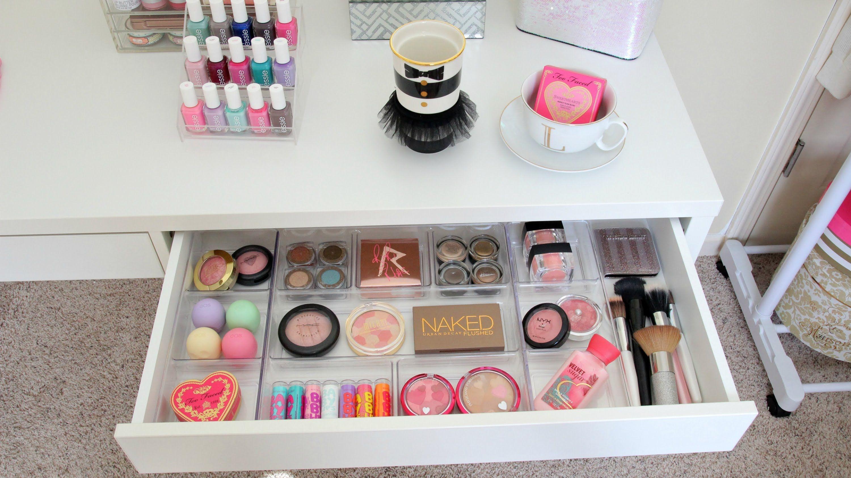 My new vanity ikea micke desk mini vanity tour makeup for Mini makeup desk