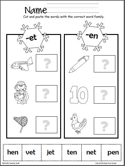 winter word families cut paste et en lyric word family activities word families cvc. Black Bedroom Furniture Sets. Home Design Ideas