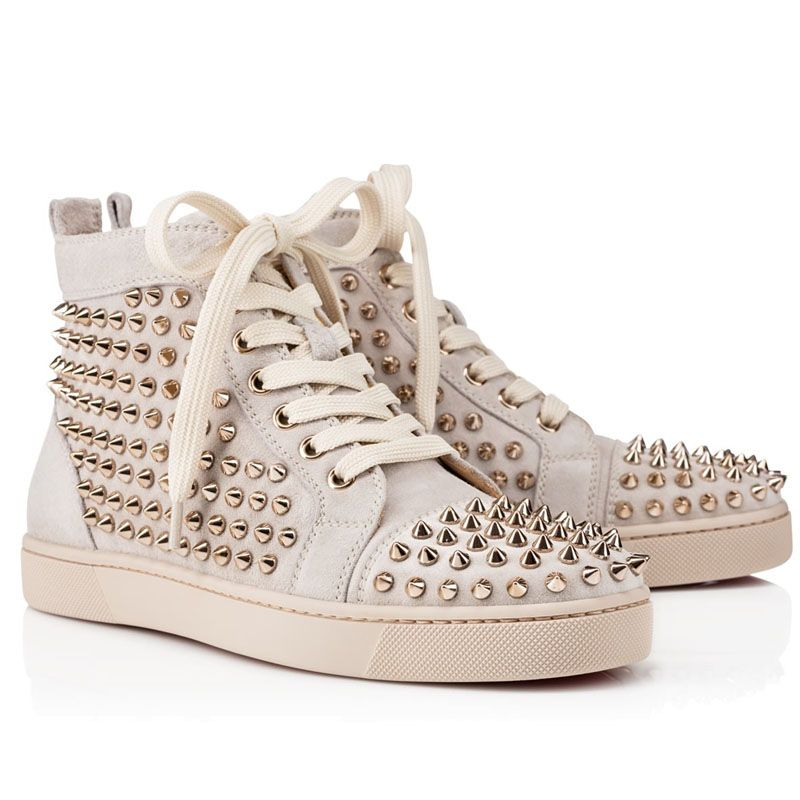 Christian Louboutin Louis Spikes Womens Flat High Top Suede Shoes Sneakers  Beige 422cc8c73f