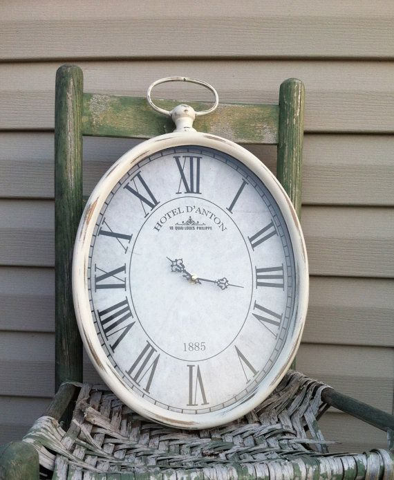 Oval pocket watch wall clock cottage white metal hanging clock 19 tall