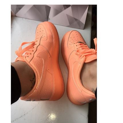 nike orange air force 1 low shimmer trainers