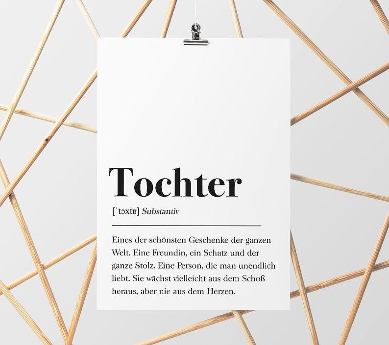 DIN A4 Poster: Geschenk für Tochter, Geburtstagsgeschenk für Zimmer/Wohnung Plakat Wörterbuch, Poster mit Text, Skandinavisch Schwarz Weiß
