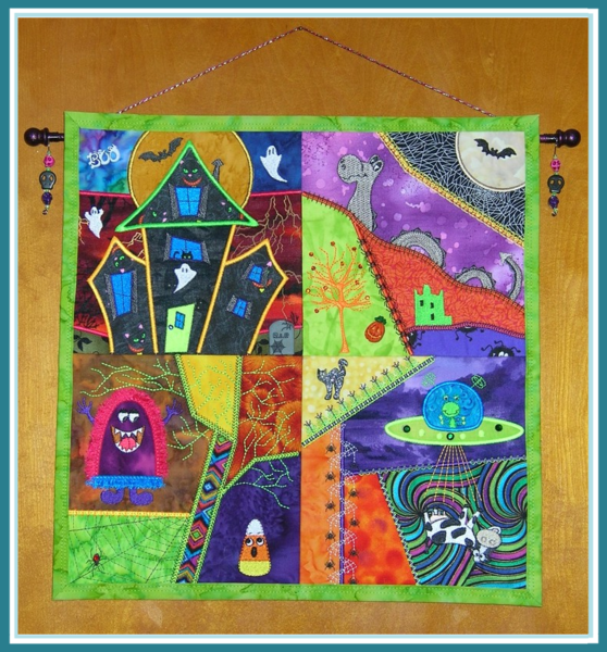 Mini Halloween Crazy Quilt 2  by Deana's Quilts and More  Deana Pfaus supporting the Colorado Wolf and Wildlife Center.  check out her page: http://www.deanasquiltsandmore.com/selection/halloween-tour-items/
