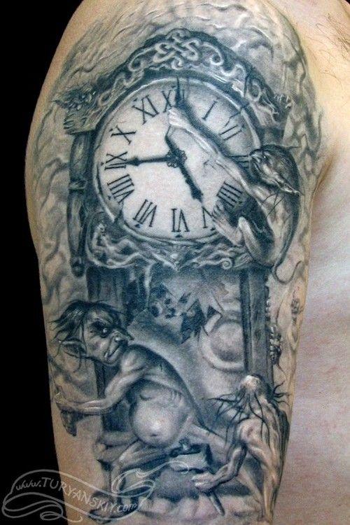 Pin By Brett Nextaddiction On Tatt Time Tattoos Clock Tattoo Fantasy Tattoos