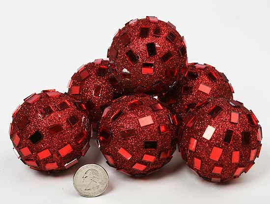 Decorative Vase Filler Ideas Red Glittery Mirrored Decorative Balls Package Of 6 Vases Decor Red Mirror Mirror Decor