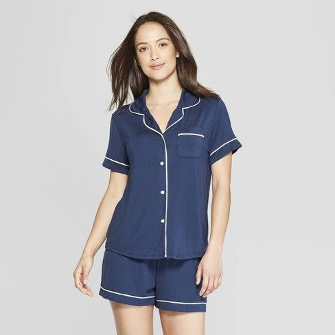 Women S Beautifully Soft Short Sleeve Notch Collar Top And Shorts Pajama Set Stars Above Pajama Set Short Pajama Set Women
