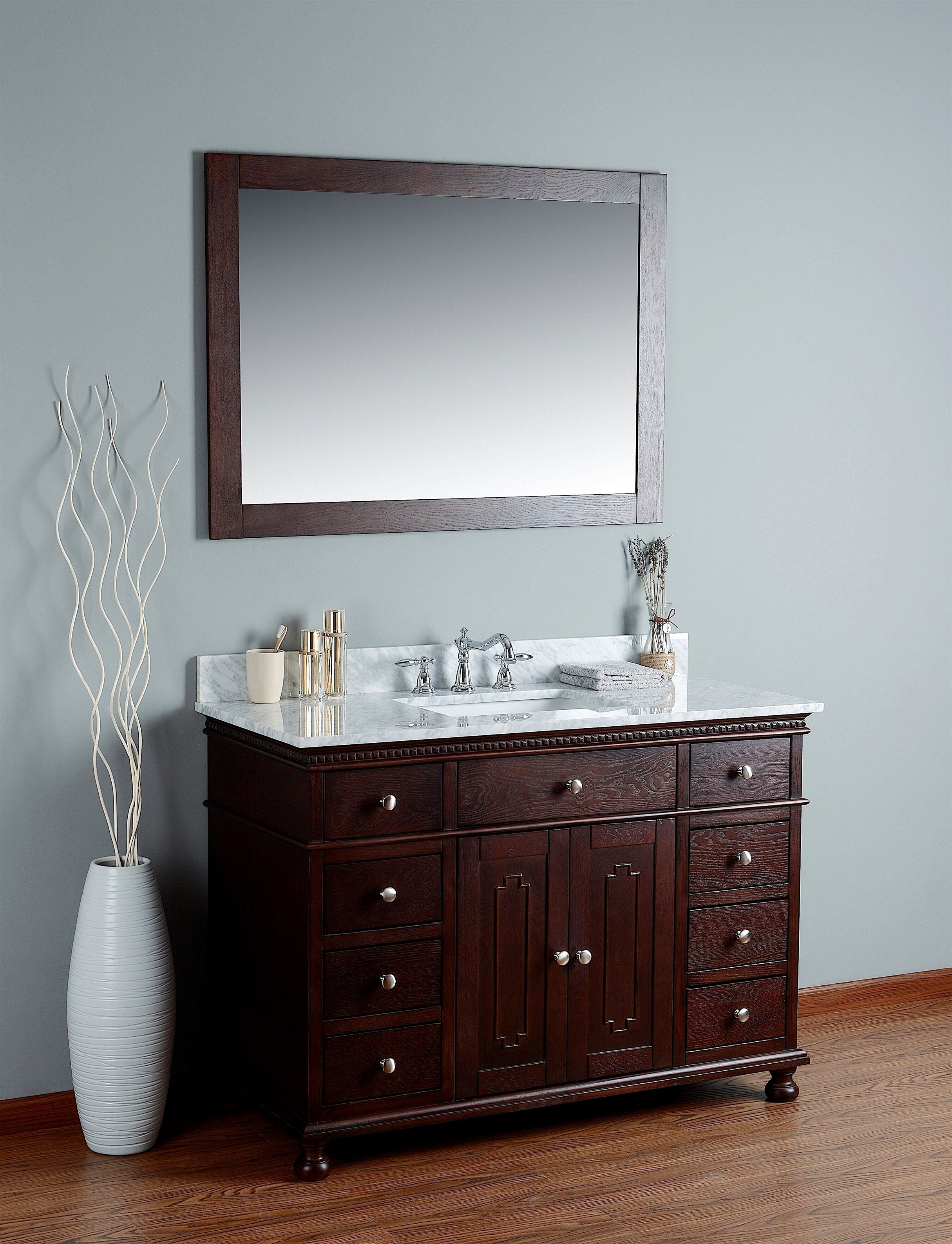 Rubeza 48 Didim Bathroom Vanity Combo Set White Italian Marble Carrara Top Whitebathroomvanity