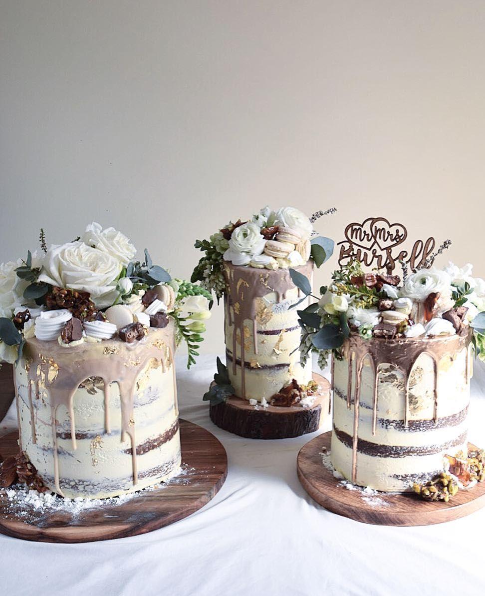 "Wedding cake Trio from last week for "" Tamara and Brendan"