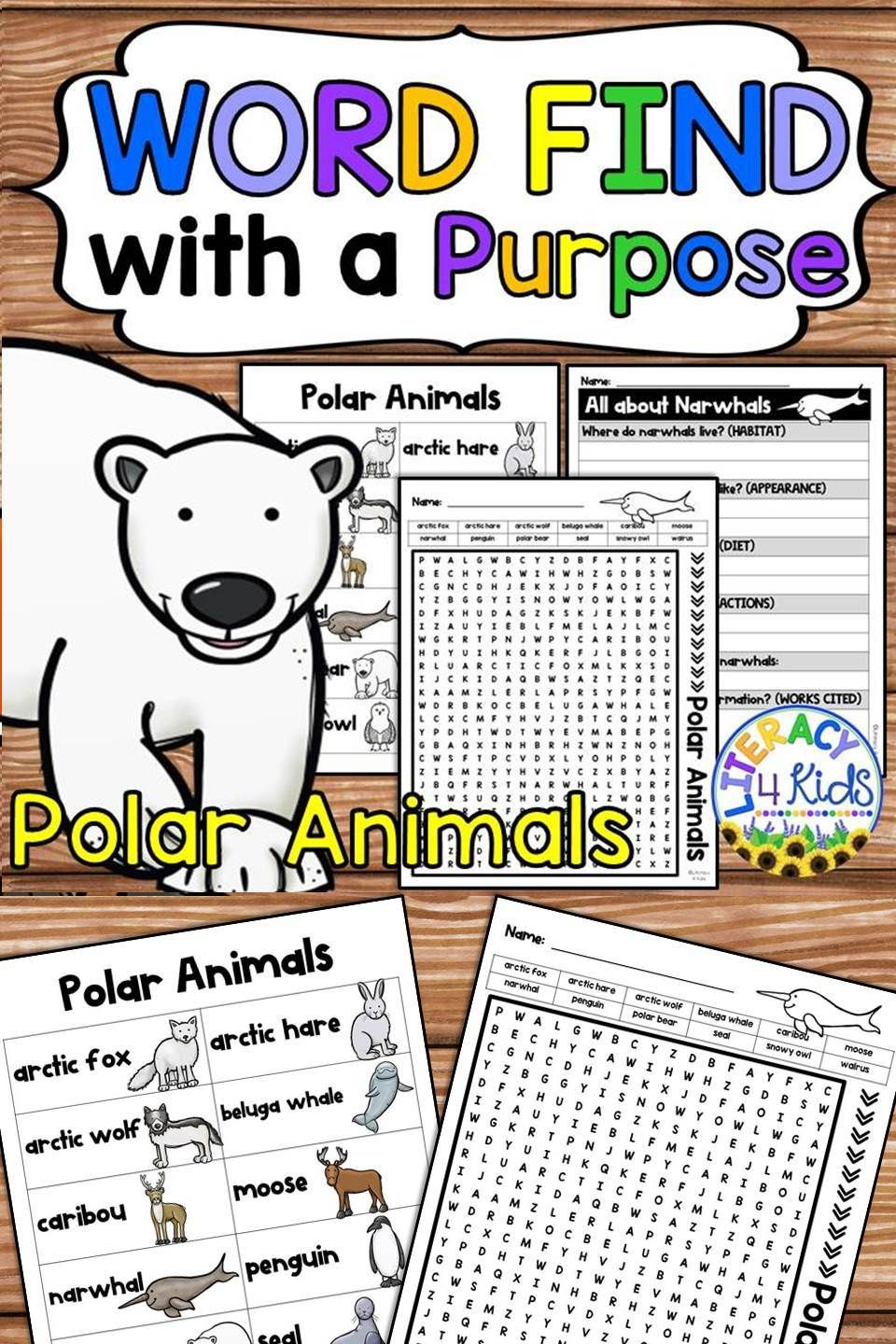 Word Find with a Purpose Polar Animals (With images