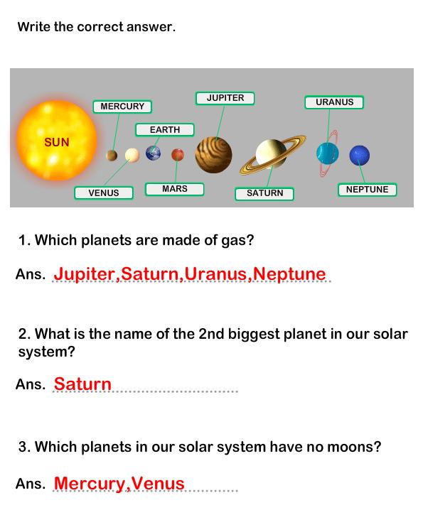 Solar System Worksheet 10 - science Worksheets - grade-1 ...