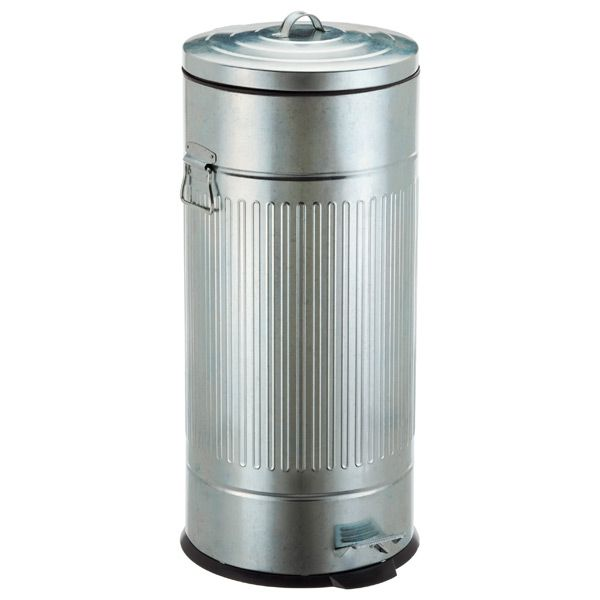 Stainless Garbage Disposal Galvanized Steel Round Trash Can with Lid 31 Gal
