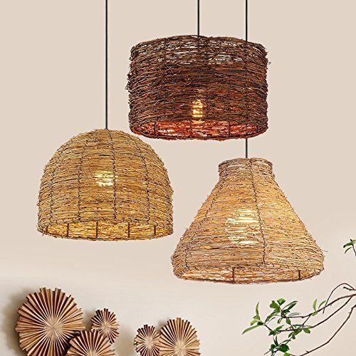 Shabby Chic Rattan Light Unique Woven Ceiling Light Fixtures Home Decor Chandelier Arturesthome Handmade Wicker Lampshade
