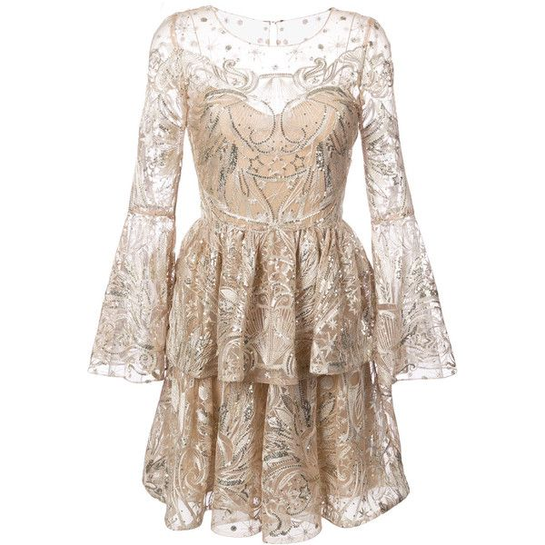 Long sleeve cocktail dress champagne