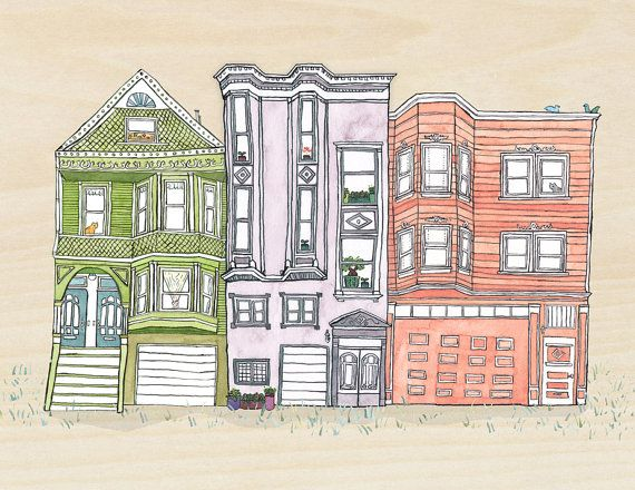 Cat art for the new house san francisco victorian house for Our victorian house