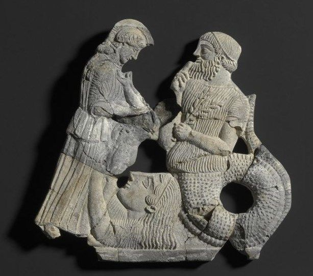 Melisches Relief Athena, Cecrops And Gaia