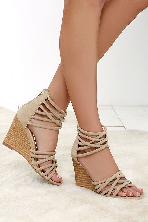 dcf3b7281f5 Pure Instinct Nude Suede Caged Wedges - Soft vegan suede shapes  crisscrossing straps along the toe and ankle
