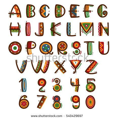 09de3fba65a African ethnic primitive font. Hand drawn brightly safari vector alphabet.  Letters abc type set illustration